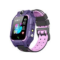 Детские смарт-часы Smart Baby Watch Z6 Purple фонарик звонки контакты чат сим карта магнитная зарядка
