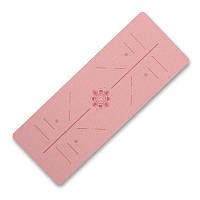 Коврик для фитнеса и йоги Dingming YZS-16 TPE 1830*660*6mm Вспомогательные линии Pink