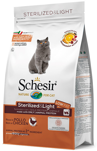 Корм для стерилизованных и тучных кошек Schesir Cat Adult Sterilized & Light