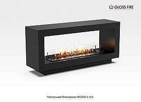 Напольный биокамин двусторонний передвижной Module-m5 камин на жидком топливе бренд Gloss Fire