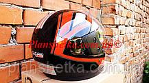 Шлем для мотоцикла Hel-Met F2-825-3 Черный красно с белым глянец, фото 2