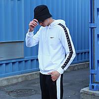 Худи кенгурушка мужская Nike | Кофта с капюшоном Найк осенняя | весенняя с карманами белая