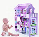 Деревянный кукольный домик с мебелью. Трехэтажный детский домик. Подарок девочке, фото 2