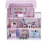 Деревянный кукольный домик с мебелью. Трехэтажный детский домик. Подарок девочке, фото 5