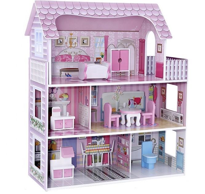 Деревянный кукольный домик с мебелью. Трехэтажный детский домик. Подарок девочке