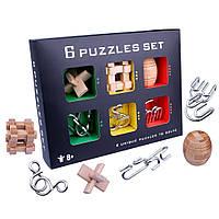 Головоломки для детей и взрослых. Набор из 6 головоломок. Развивающая игрушка. Отличный подарок