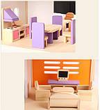 Деревянная игрушка двухэтажный детский домик с мебелью аксессуар для кукол и пупсов, фото 2