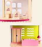 Деревянная игрушка двухэтажный детский домик с мебелью аксессуар для кукол и пупсов, фото 4