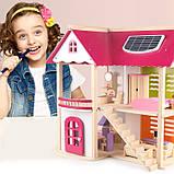 Деревянная игрушка двухэтажный детский домик с мебелью аксессуар для кукол и пупсов, фото 5