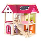 Деревянная игрушка двухэтажный детский домик с мебелью аксессуар для кукол и пупсов, фото 6