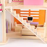 Деревянная игрушка двухэтажный детский домик с мебелью аксессуар для кукол и пупсов, фото 7