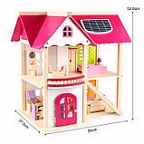 Деревянная игрушка двухэтажный детский домик с мебелью аксессуар для кукол и пупсов, фото 9