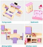 Деревянная игрушка двухэтажный детский домик с мебелью аксессуар для кукол и пупсов, фото 10