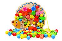 Развивающая деревянная игрушка. Шнуровка ёжик с фруктами для самых маленьких