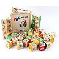 Деревянные кубики с цифрами и алфавитом. Большой деревянный куб с крышкой. Обучающая игрушка