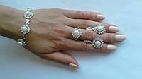 """Серебряные браслеты с золотыми пластинами""""Хризантема Ж"""", фото 1"""