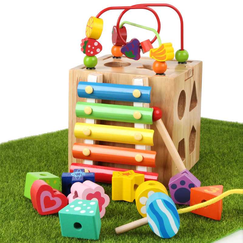 Развивающая деревянная музыкальная игрушка. Уникуб с ксилофоном