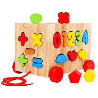 Развивающая деревянная интерактивная игрушка. Вагончик на колесах.