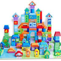 Развивающая деревянная игрушка конструктор. Детские строительные блоки кубики.