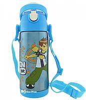 Термос детский с поилкой и шнурком на шею Disney 603 350 мл Ben 10 Голубой #S/O