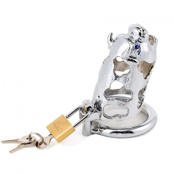 Metal ox head chastity device silver