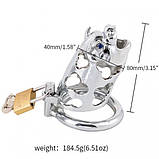 Metal ox head chastity device silver, фото 3
