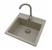 Кухонная гранитная мойка светло-бежевая Formini / кухонна гранітна мийка 505/500/200