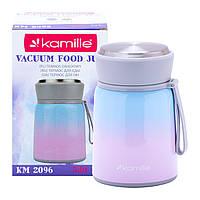 Термос пищевой обеденный для супа Kamille Розовый 530мл из нержавеющей стали KM-2096