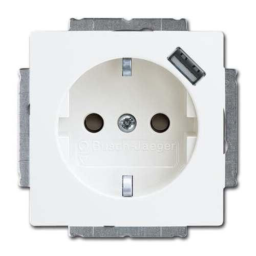 Розетка с з/к + USB ABB Basic 55 Белый