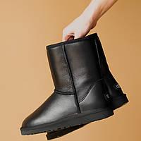 Угги женские UggiAustralia Classic Short Leather черный