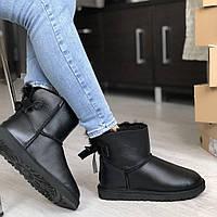 Угги женские UggiAustralia Classic Mini Bailey Bow leather черный, фото 1