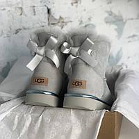 Угги женские UggiAustralia Classic Mini Bailey Bow Boots серый