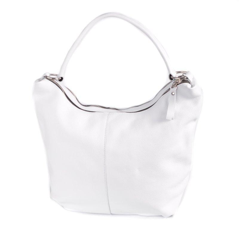 Біла жіноча шкіряна сумка-мішок шоппер з однією ручкою на плече