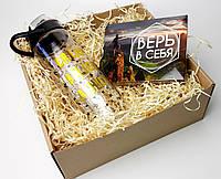"""Подарочный мотивационный набор """"Верь в себя"""": набор мини-шоколадок и спортивная пластиковая бутылка для воды"""