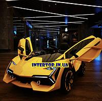 Детский электромобиль LAMBORGHINI на пульте с кожаным сиденьем, M 4115EBLR желтый. Машина на пульте Ламборгини