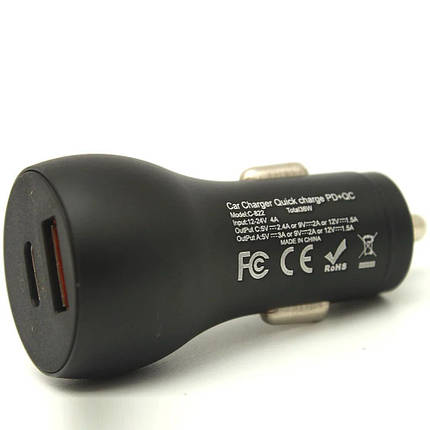 Автомобильное зарядное устройство Awei C-822 (QC3.0+PD) Black, фото 2