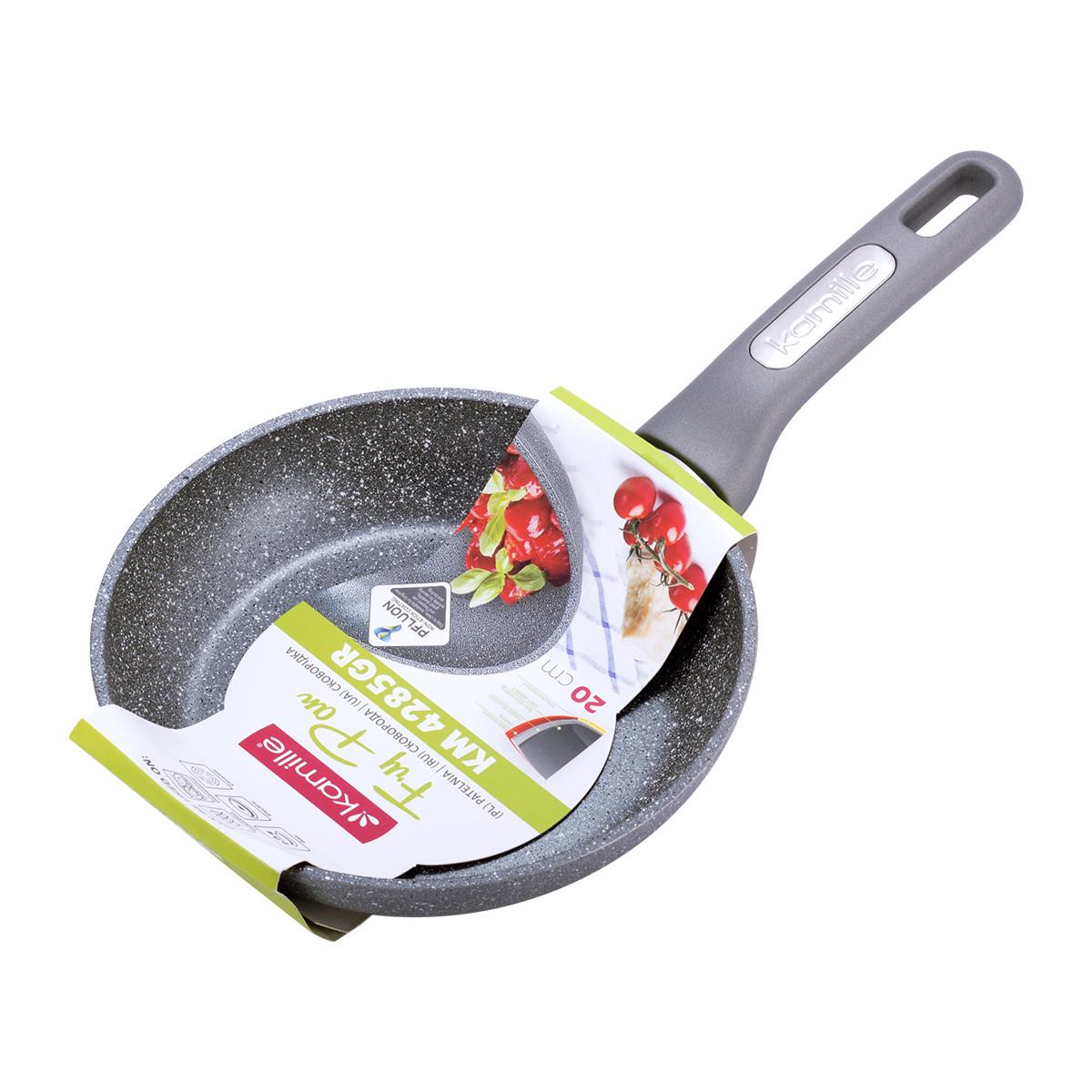 Сковорода Kamille 20см с гранитным покрытием из алюминия для индукции и газа KM-4285GR