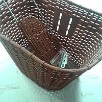 """Корзина багажная передняя для велосипедов с диаметром колеса 28"""", коричневая, пластмассовая"""