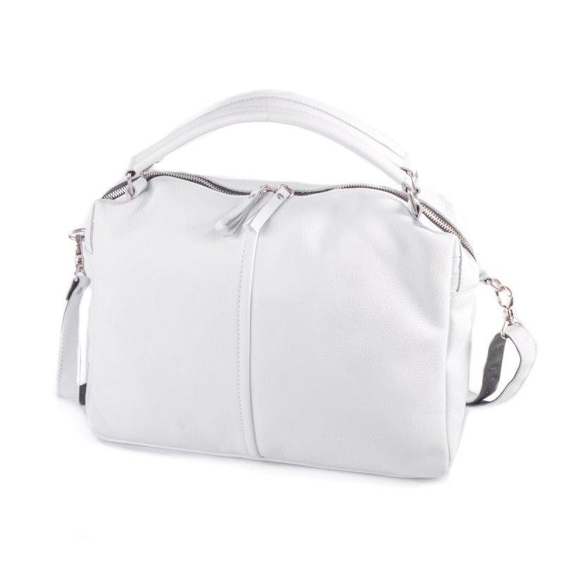 Біла шкіряна жіноча сумка М276white велика на плече з ручками з натуральної шкіри