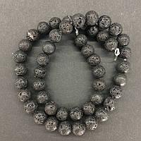Намистини на нитці натуральний камінь Лава d=8-9мм