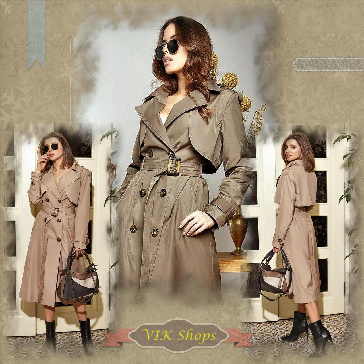 Плащ-тренчкот брендовый женский Domenica удлинённый двубортный (3 цвета, р.S-XL)