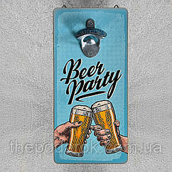 Настенная открывалка для бутылок дерево 32х15см  Beer party
