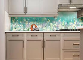 """Скинали на кухню Zatarga """"Полевые цветы акварельные"""" 600х2500 мм бирюзовый виниловая 3Д наклейка кухонный"""
