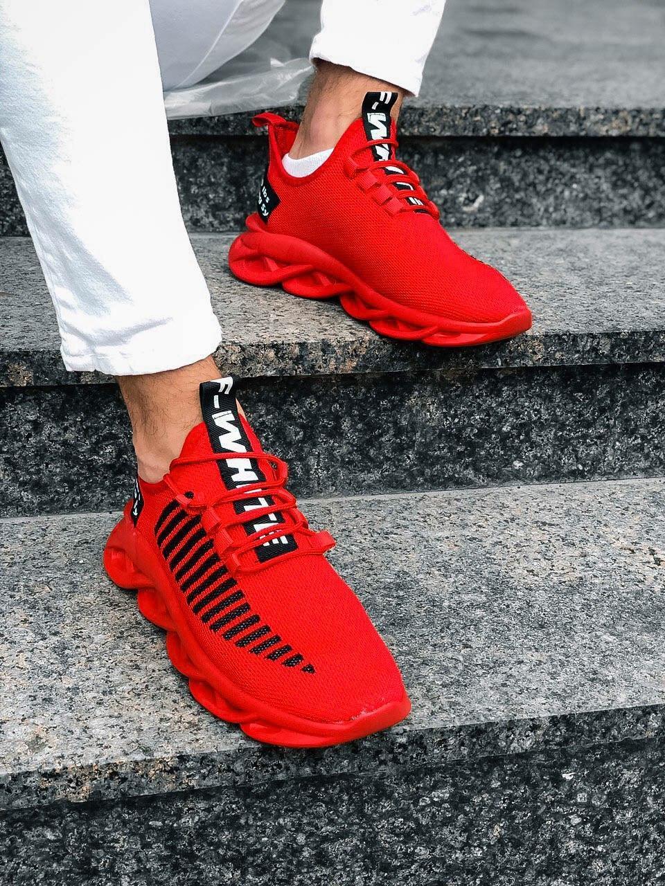 Чоловічі кросівки червоні в стилі Off-White