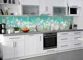 """Скинали на кухню Zatarga """"Полевые цветы акварельные"""" 600х3000 мм бирюзовый виниловая 3Д наклейка кухонный"""