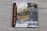 Скатерть силиконовая Gold Fashion 165x120 см золото серебро на обеденный стол нарядная прозрачная с рисунком, фото 5