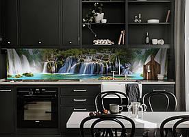 """Скинали на кухню Zatarga """"Водопад тропический"""" 600х3000 мм разные цвета виниловая 3Д наклейка кухонный фартук"""