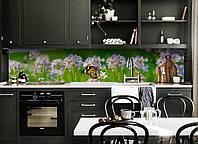 Кухонный фартук Полевые цветы (скинали для кухни наклейка ПВХ) бабочка луг Зеленый 600*2500 мм