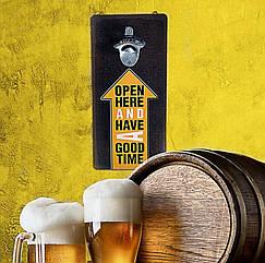 Настенная открывалка для бутылок дерево 32х15см  Open here and have a good time