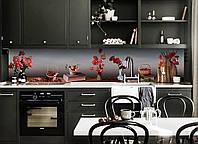 Кухонный фартук самоклеющийся Маки и Вишни (скинали для кухни наклейка ПВХ) Натюрморт цветы Серый 600*2500 мм